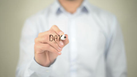 Day Counter, man writing on transparent screen Live Action