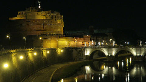 Rome Italy Castel Sant'Angelo night view with St. Angelo Bridge on Tiber river Footage