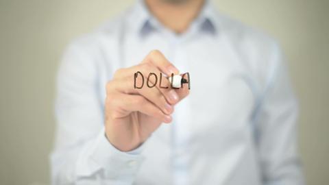 Dollar Crisis , man writing on transparent screen Footage
