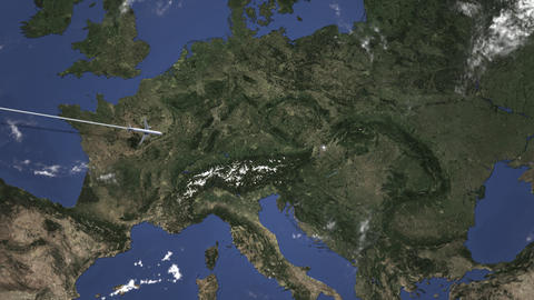 Route of a commercial plane flying to Bratislava, Slovakia on the map. Intro 3D Live Action