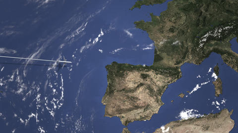 Route of a commercial plane flying to Bilbao, Spain on the map. Intro 3D Live Action