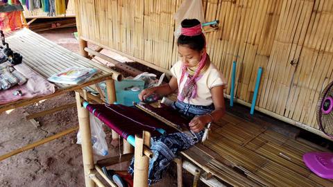 Bangkok, Thailand - 2019-03-03 - Long Neck Karen Tribe Woman 1 - Woman Weaves Footage