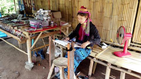 Bangkok, Thailand - 2019-03-03 - Long Neck Karen Tribe Woman 3 - Woman Weaves Footage