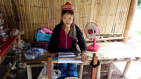 Bangkok, Thailand - 2019-03-03 - Long Neck Karen Tribe Woman 2 - Woman Weaves Footage