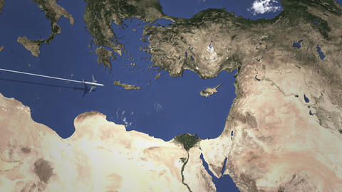 Commercial plane arrives to Limassol, Cyprus, intro 3D animation Live Action