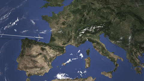 Route of a commercial plane flying to Genoa, Italy on the map. Intro 3D Live Action
