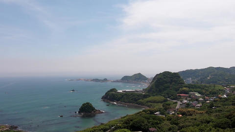 Japanese landscape. Sea cove surrounded by greenery Live Action