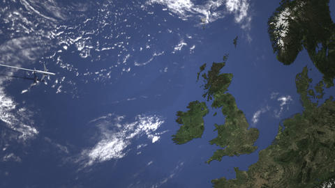 Route of a commercial plane flying to Edinburgh, United Kingdom on the map Live Action
