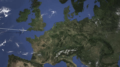 Route of a commercial plane flying to Dresden, Germany on the map. Intro 3D Live Action