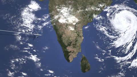 Commercial plane arrives to Chennai, India, intro 3D animation Live Action