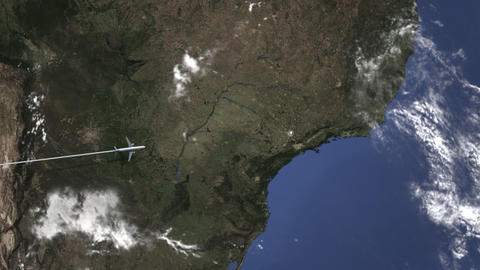 Route of a commercial plane flying to Campinas, Brazil on the map. Intro 3D Live Action