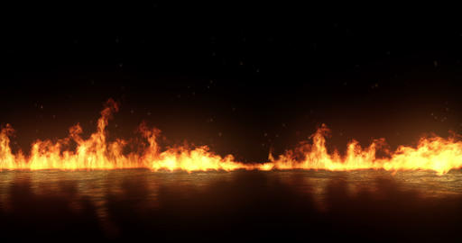 realistic fire flames burn with ash rise movement frame on black background with Live Action