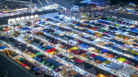 Night Market Ratchada Timelapse Bangkok, Thailand Live Action