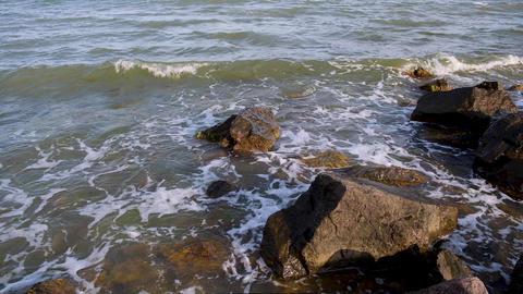 rocky shore of the Black Sea in the village of Iron Port, Ukraine Archivo
