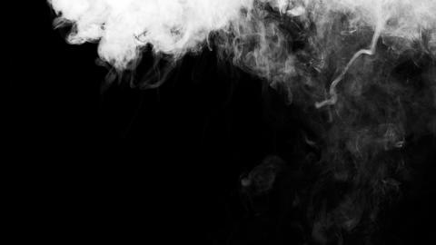 White Smoke on Black Background Live Action