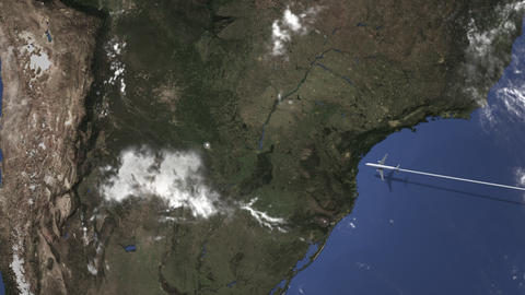 Route of a commercial plane flying to Asuncion, Paraguay on the map. Intro 3D Live Action