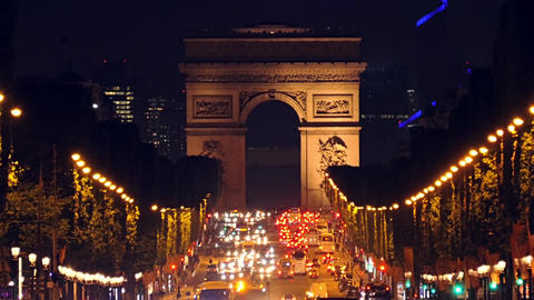 Night Car Traffic on the Champs Elysees Footage