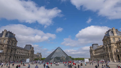 Tourists at the Pyramids of the Louvre and Clouds. Time Lapse Footage