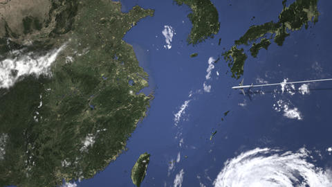 Commercial airplane flying to Hangzhou, China. Intro 3D animation Live Action