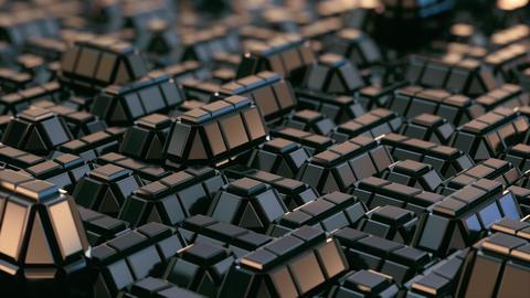 Abstract Geometric Metal Macro City Close view Animation