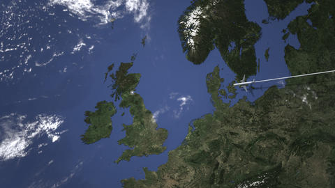 Commercial airplane flying to Edinburgh, United Kingdom. Intro 3D animation Live Action