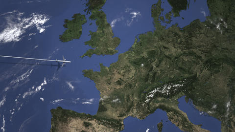 Commercial plane arrives to Luxembourg City, Luxembourg, intro 3D animation Live Action
