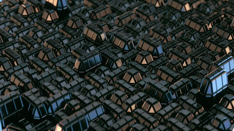 Abstract Geometric Metal Macro City Animation
