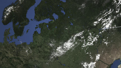 Route of a commercial plane flying to Riga, Latvia on the map. Intro 3D Live Action