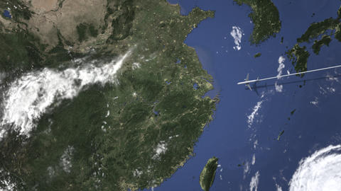 Route of a commercial plane flying to Wuhan, China on the map. Intro 3D Live Action