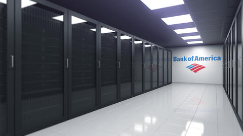 BANK OF AMERICA logo in the server room, editorial 3D animation Footage