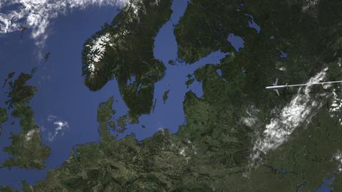 Commercial plane arrives to Gothenburg, Sweden, intro 3D animation Live Action