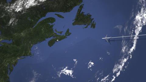 Commercial plane arrives to Halifax, Canada, intro 3D animation Live Action
