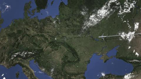 Commercial plane arrives to Krakow, Poland, intro 3D animation Live Action