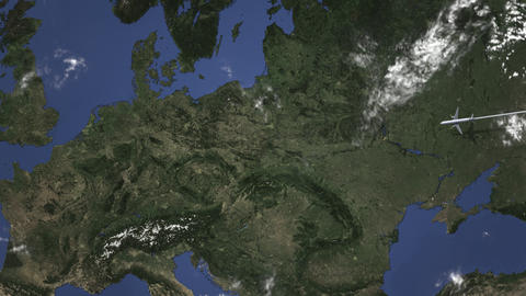 Route of a commercial plane flying to Leipzig, Germany on the map. Intro 3D Live Action
