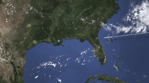 Commercial plane arrives to New Orleans, United States, intro 3D animation Live Action