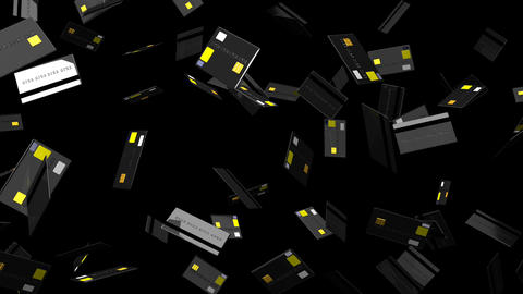 Black Credit cards on black background CG動画