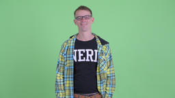 Happy nerd man with eyeglasses smiling Footage