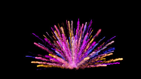 Abstract colorful dust explosion on black background GIF