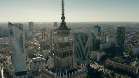 WARSAW, POLAND - JUNE 5, 2019. Aerial shot of the Palace of Culture and Science Live Action