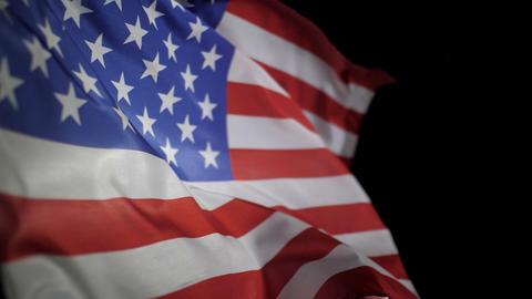 USA American flag waving on black background GIF