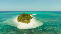 Travel concept with a sandy beach and blue sea. Balabac, Palawan, Philippines Archivo