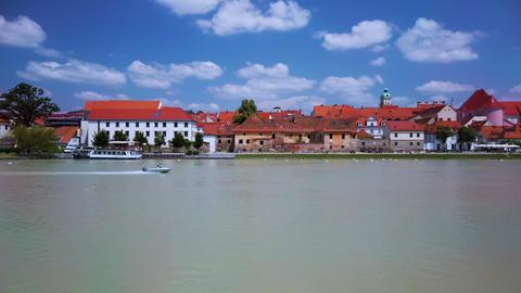 Motorboat speeding on Drava river, Lent, Maribor, Slovenia Footage