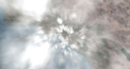 flight flying over white clouds with hyper speed on blur map with terrain and coast background, Live Action