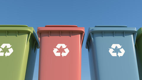 Colored container separate garbage collection for environmental protection Footage