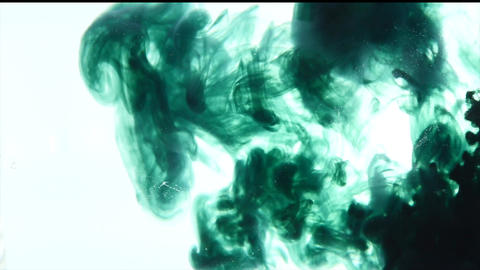 Green ink in water. Acrylic splash on white background, art, liquid, cloud footage green colored Live Action