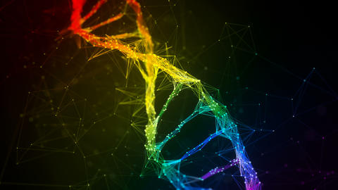 Iridescent rainbow Digital Plexus DNA molecule strand colorful Loop Background Animation