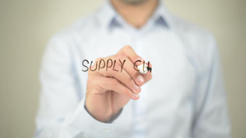 Supply Chain Management , man writing on transparent wall Footage