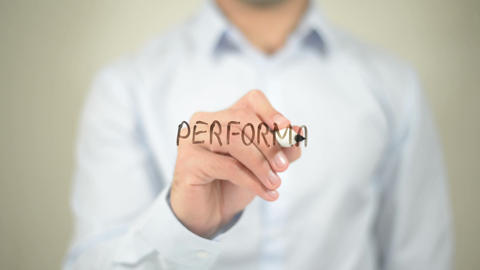 Performance Management , writing on transparent wall Live Action