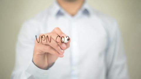 VPN Coordinator, writing on transparent screen Live Action