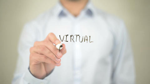 Virtual Private Network, writing on transparent screen Live Action